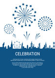 Cityscape, Skyscrapers with celebration fireworks background. Royalty Free Stock Photography