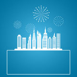 Cityscape, Skyscrapers with celebration fireworks background. Royalty Free Stock Photos