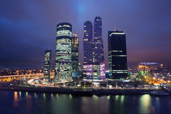 Cityscape of skyscrapers of Moscow City in the night Stock Image