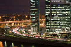 Cityscape of skyscrapers of Moscow City in the night Stock Images
