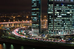 Cityscape of skyscrapers of Moscow City in the night Stock Photography