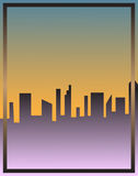 Cityscape skyscrapers poster vector illustration frame. City scape skyscrapers poster vector illustration. Blue yellow background purple gradient buildings Stock Photos