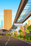 Cityscape With Skyscrapers And Railway Road Modern City View. Cityscape With Modern Skyscrapers And Railway Road Modern City View Vector Illustration Stock Photos