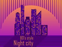 Cityscape with skyscrapers in the style of the 80s. Retro futurism. City sunset. Light in the windows. Vector. Illustration royalty free illustration