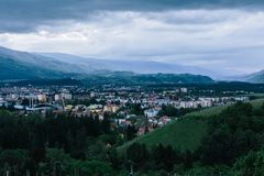 A cityscape of the Slovenian university town Maribor a moment after sunset. royalty free stock photo