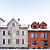 Cityscape of small town street with wooden houses in Norway Stock Photography