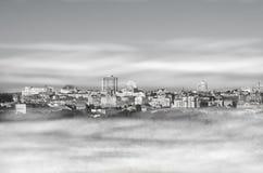 Cityscape in smog. Kiev, Ukraine. Black and white photo Royalty Free Stock Photos