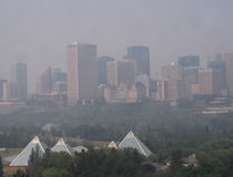 Cityscape Of Smoke Covered Downtown Edmonton Alberta Royalty Free Stock Images