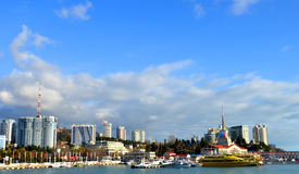 Cityscape of Sochi seaport Royalty Free Stock Image