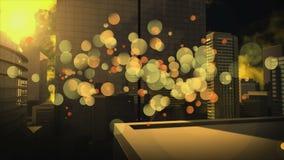 Cityscape som omges av gul bubblaeffekt