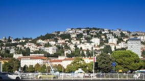 View over the Cityscape of some Houses on a Hill in the Harbor City of Rijeka in Croatia stock photos