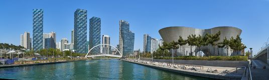 Cityscape of Songdo IBD. Incheon, Korea - April 27, 2017: Songdo International Business District Songdo IBD with Songdo Central Park and Tri-bowl. The city is a royalty free stock images