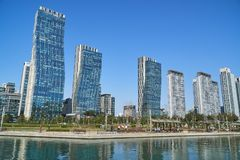 Cityscape of Songdo IBD. Incheon, Korea - April 27, 2017: Songdo International Business District Songdo IBD with Songdo Central Park. The city is a new smart Royalty Free Stock Photos