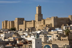 Cityscape of Sousse. Tunisia. Sousse - old town viewed from ribat. There is the kasbah (fortress) on second plan Royalty Free Stock Image