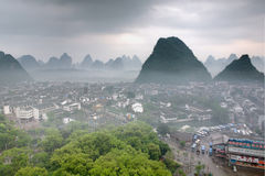 Cityscape in Southeast Asia, Yangshuo town, top view, karst hill Royalty Free Stock Images