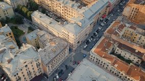 Cityscape of St. Petersburg. Flying above roofs of St. Petersburg, Russia stock video