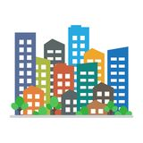 Cityscape Stads moderne gebouwen, het huisvesten district Vector illustratie vector illustratie