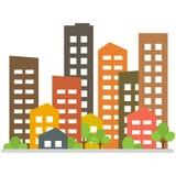 Cityscape Stadsgebouwen, het huisvesten district, stadshuizen Vector illustratie royalty-vrije illustratie