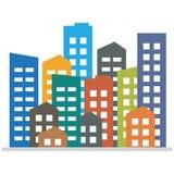 Cityscape Stadsgebouwen, het huisvesten district, stadshuizen Vector illustratie vector illustratie