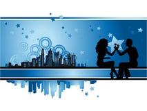 Cityscape, stedelijk frame, paar Royalty-vrije Stock Foto