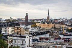 Cityscape Stockholm, Sverige fotografering för bildbyråer
