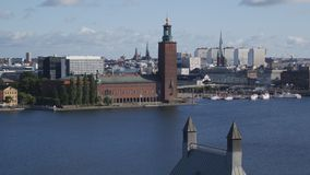 Cityscape of Stockholm, Sweden. With City Hall stock video footage