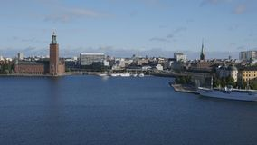 Cityscape of Stockholm, Sweden. With City Hall and Gamla Stan stock video