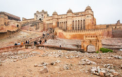 Cityscape with the stone walls of the ancient indian Amber Fort Royalty Free Stock Image