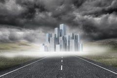 Cityscape on stormy landscape background Stock Photography