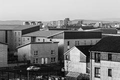 Cityscape on the street and buildings city Glasgow. View from above, black and white, United Kingdom Stock Images