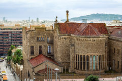 Cityscape with street and church. Barcelona, Catalonia, Spain Royalty Free Stock Photos