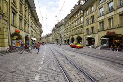 Cityscape of street Marktgasse in Bern. BERN, SWITZERLAND - SEPTEMBER 11, 2015: Cityscape of street Marktgasse, It shows the beauty of impressive architecture Royalty Free Stock Images