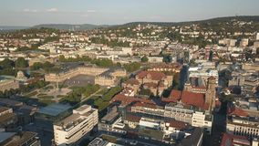Cityscape of Stuttgart. One of the most important industrial cities in Germany. Aerial view stock video footage