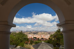 Cityscape of Sucre as seen from viewpoint La Recoleta. Bolivia stock images