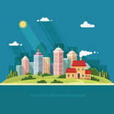 Cityscape - summer  Country house on a background of a big city. Stock Photography