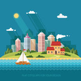 Cityscape - summer  Country house on a background of a big city. Royalty Free Stock Photo