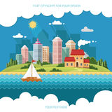 Cityscape - summer  Country house on a background of a big city. Royalty Free Stock Photography