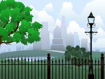 Cityscape summer park Stock Image
