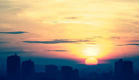 Cityscape sunrise, cross processed Stock Photo
