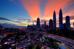 Cityscape during sunrise with ray Royalty Free Stock Photo