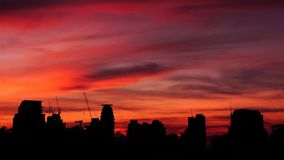 Cityscape Sunset. Sunset with Bangkok Skyline Silhouette Stock Photography