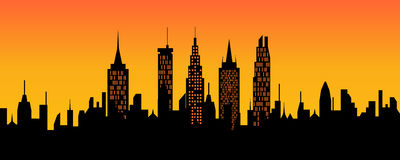 Cityscape at sunset Royalty Free Stock Photos