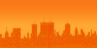 Cityscape at sunset. Big city skyline at sunset Royalty Free Stock Photo