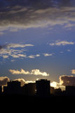 Cityscape sunset. With buildings silhouette. Cold whitbalance version Royalty Free Stock Photo