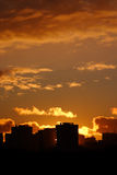 Cityscape sunset. With buildings silhouette. Warm whitbalance version Stock Photography