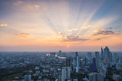 Cityscape, sunset, Bangkok Royalty Free Stock Photos