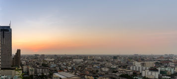 Cityscape: Sunset and the city view of low rises buildings in Ba Stock Photos