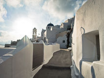 Cityscape at sunset, Imerovigli village, Santorini island Stock Photos
