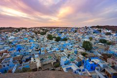 Blue city - jodhpur cityscape in rajasthan, india. Cityscape during sunset of Jodhpur, the blue city in Rajastan, India Royalty Free Stock Photography