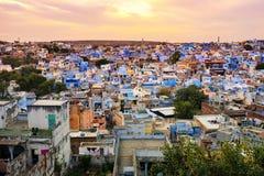 Blue city - jodhpur cityscape in rajasthan, india. Cityscape during sunset of Jodhpur, the blue city in Rajastan, India Stock Photo